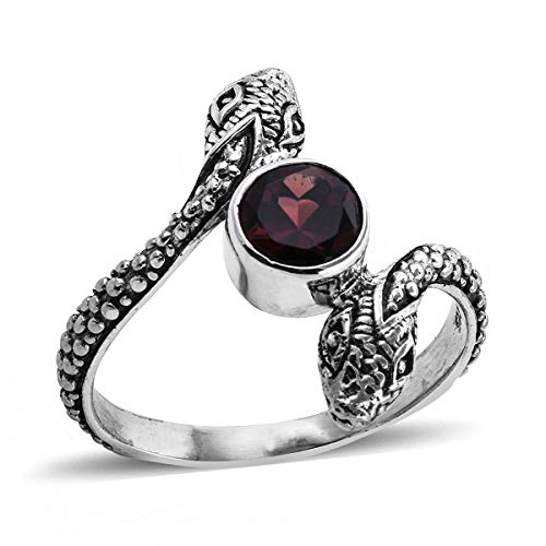 (925 Sterling Silver Solitaire Ring for Women Round Garnet Gift Jewelry Size 8 Cttw 1.3)