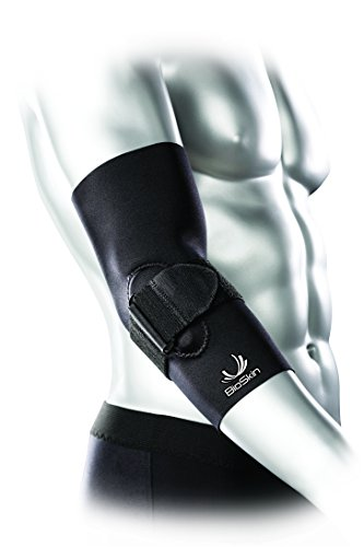 BioSkin Elbow Compression Sleeve with Supportive Strap and Gel Comfort - Elbow Sleeve for Recovery