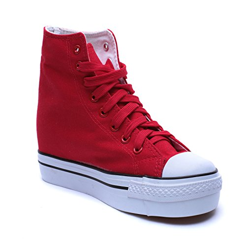 G565 Tela 5 MForshop Sneakers Scarpe Zeppa Ginnastica cm rosso Donna Sportive Platform Interna dqq1wPzY