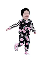 AmyDong Newborn Baby Girls Clothes Sets Long Sleeve Boys Tops Blouse Striped Pants