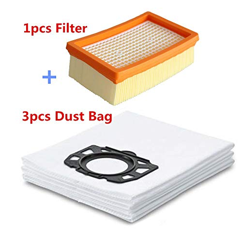 HBK 3pcs Vacuum Cleaner Dust Bags + 1pc Filter for Karcher MV4 MV5 MV6 WD4 WD5 WD6 for Karcher WD4000 to WD5999 Vacuum Cleaner Parts