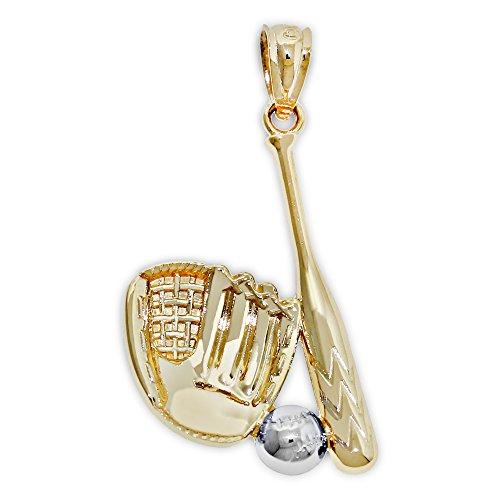 Charm America - Gold Baseball Gear Charm - 14 Karat Solid Gold
