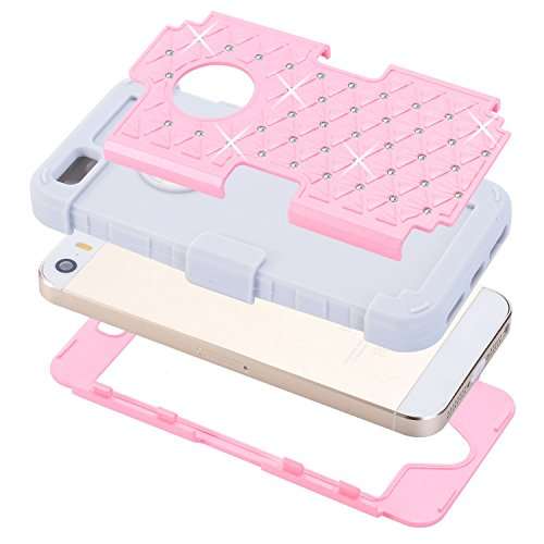 iPhone 5SE / 5S Case, XRPow Studded Rhinestone Crystal Bling 3 in 1 Hybrid Impact Shockproof Armor Cover Silicone + Hard PC Case for iPhone 5 5S 5SE(Pink Gray)