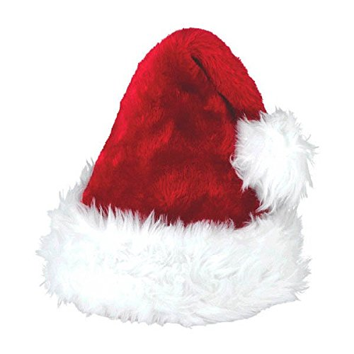 [Amscan Fun-Filled Christmas & Holiday Party Deluxe Santa Hat (1 Piece), Red/White, 15