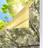 3m heat control film - solardiamond Window Film Privacy Mirror One Way Heat Control Sun Blocking Decorative Tint Roll for Home Office | Self-Adhesive Reflective Silver Gold 60inX100ft