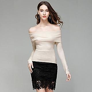 HY-Sweater Europa e Gli Stati Uniti Una Maglia del Collare di Parola Donne Senza Camicia della Camicia Senza Bretelle Sottile Tipo