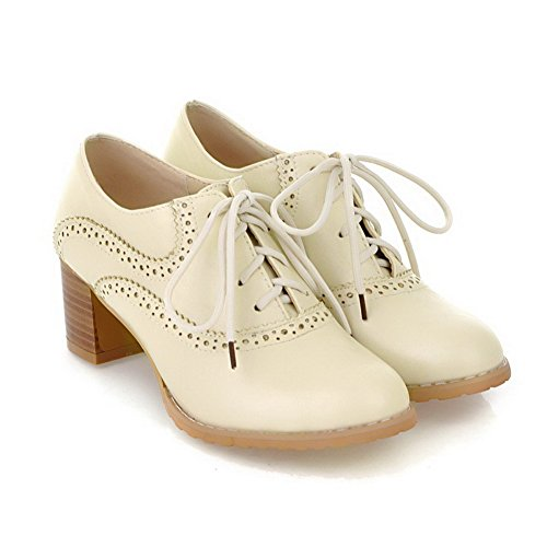 VogueZone009 Women's Kitten Heels Soft Material Solid Lace up Round Closed Toe Pumps-Shoes Beige 3IU1I67mv