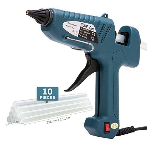 Hot Glue Gun , Blusmart 100-Watt Industrial Glue Gun High Temperature Hot Melt Glue Gun with 10pcs Glue Sticks,Dark Green (Heavy Sticks Hot Glue Duty)