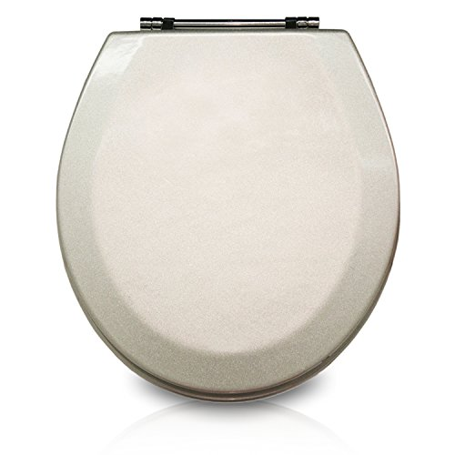 Trimmer Premium Molded Wood Toilet Seats with Multi-Coat Surface Finish - Water and Stain-Resistant Finish with Chrome Hinges, Silver