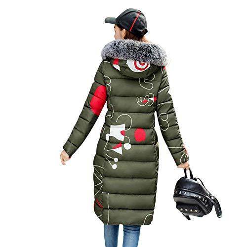 Stampato Fashion grün Autunno Colore Invernali Piumini Cerniera Cappotto Abbigliamento Trapuntato Con Lunga Elegante Calda Puro Giacca Trapuntata Armee Imbottitura Cappuccio Donna A qv4TBx1x