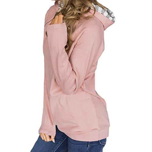 Con T Pullover Taglia Maniche Mef1um Camicia In Aderente Nera Lunghe Le Felpa A Per Casual shirt Rosa Rot colore Camicetta E Jersey Rossa Donne 0qqzwp