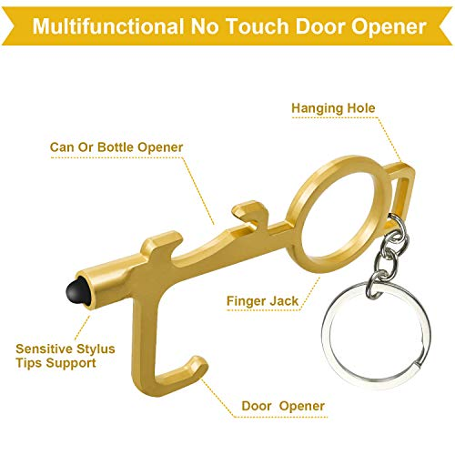 No Touch Door Opener, 4 Pack Portable EDC Door Opener Bottle & Can Opener, Safety Anti Contact Hands Tools with Smart Stylus for Screens Elevators Keypads (Black+Silver+Golden+Rose Gold)