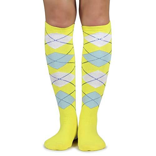 (Spotlight Hosiery Lady's Fashion Argyle Knee High Socks,Bright Yellow/Light Blue/White )