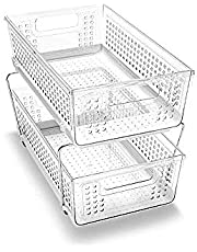 2-Tier Organizer Without Dividers, Space Saving, Multi-Purpose Storage, Large, Clear