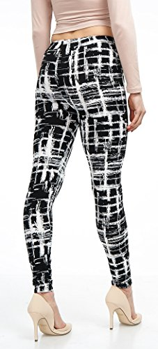 LMB Lush Moda Extra Soft Leggings with Designs- Variety of Prints - 720F Black White Stripes B5 by LMB (Image #5)