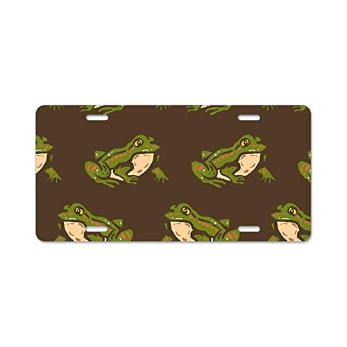YEX Frogs Pattern License Plate with 4 Holes Novelty Car Licence Plate Covers Tag Sign 12
