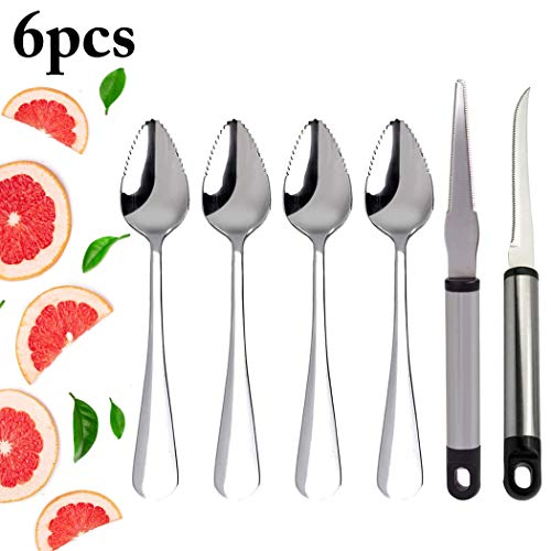 Grapefruit Spoons, JUSTDOLIFE Grapefruit Dessert Spoons Stainless Steel and Grapefruit Knife Set for Kitchen ()