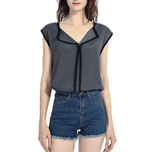 - HIRIRI Elegant Women's Sleeveless Chiffon Blouse V-Neck Casual Solid Office Work Shirts Tank Tops Gray