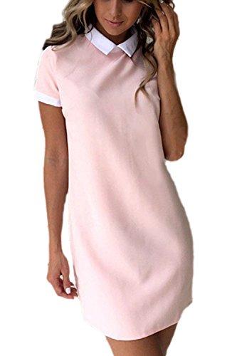 Las Mujeres Vestido De Verano De Manga Corta Cuello Patchwork Lápiz Pink