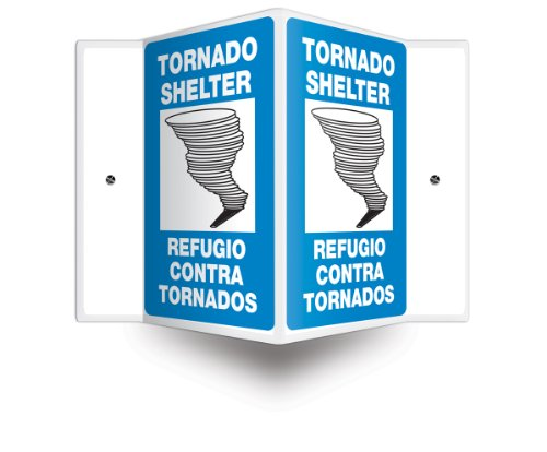 """Accuform Signs SBPSP393 Spanish Bilingual Projection Sign 3D, Legend """"TORNADO SHELTER/REFUGIO CONTRA TORNADOS"""" with Graphic, 12"""" x 9"""" Panel, 0.10"""" Thick High-Impact Plastic, Pre-Drilled Mounting Holes, Blue/Black on White"""