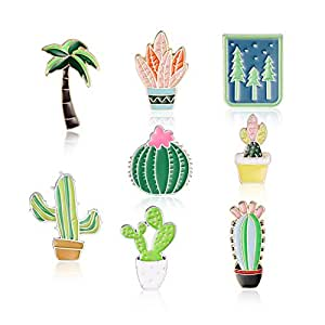 CADANIA 10 Piezas Broche de Planta Creativo Lindo Árbol Cactus Insignia Pin Mochila de Solapa Pins Decoración Joyas Encantos