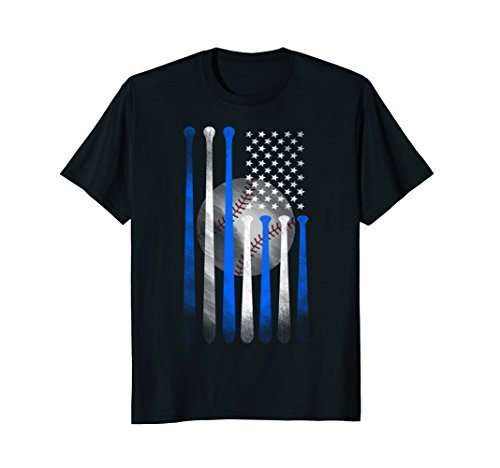 Mens American Flag Vintage Baseball Flag T-Shirt, Dad, Mom, Kid T Large Black