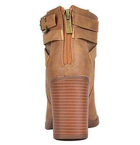 3 Tan Ankle TOETOS Chicago Booties Heel Women's Chunky xwf7aqUS0