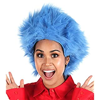 elope Dr Seuss Thing 1 Thing 2 Blue Fuzzy Wig For Women & Men