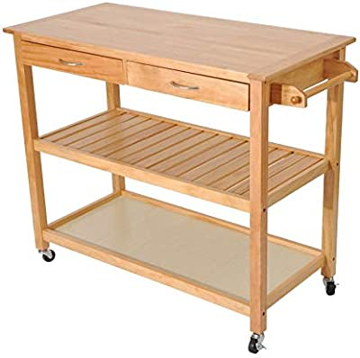 """MRT SUPPLY 45"""" Natural Wooden 3 Tier Kitchen Rolling Cart Workbench with Storage with Ebook"""