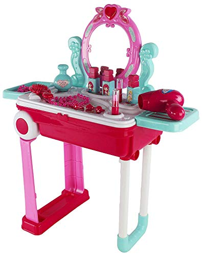 Children's Imaginary Pretend Play Battery Operated Lights & Sounds 2 In 1 Portable Vanity Luggage Playset Toy, Wonderful Toy For Little Girls Who Is Always On The Go & Want To get Dolled Up (Outdoor Affordable Playsets)