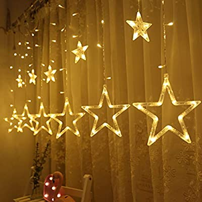 Twinkle Star 12 Stars 138 LED Curtain String Lights, Window Curtain Lights with 8 Flashing Modes Decoration for Christmas, Wedding, Party, Home, Patio Lawn