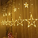 Tools & Hardware : Twinkle Star 12 Stars 138 LED Curtain String Lights, Window Curtain Lights with 8 Flashing Modes Decoration Christmas, Wedding, Party, Home, Patio Lawn, Warm White