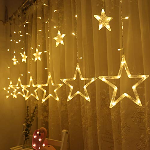- Twinkle Star 12 Stars 138 LED Curtain String Lights, Window Curtain Lights with 8 Flashing Modes Decoration Christmas, Wedding, Party, Home, Patio Lawn, Warm White
