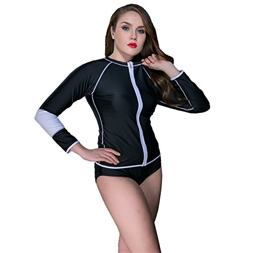 Large Size Summer Swimming Lady Wetsuit Long Sleeve New Style Single Diving Swimsuit (Black, - Near Stores Wetsuit Me