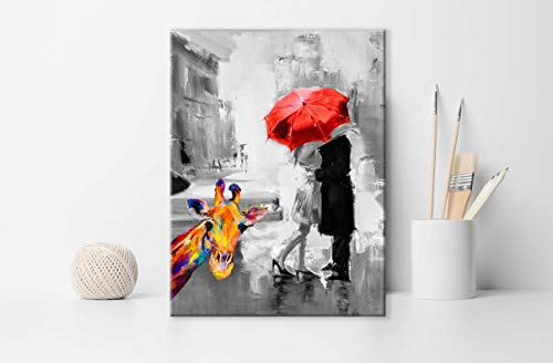 Living Room Wall Decor of Red Umbrella & Giraffe, Bedroom Decor for Couples with Original Inspirational Work, Funny Bathroom Decor with Waterproof Love Signs Decor, Wood Inside Framed ( 12x16 )