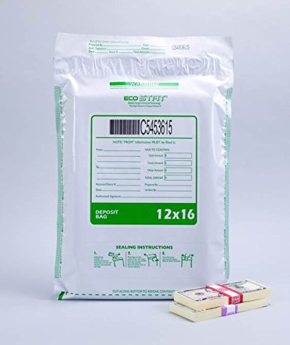 Tamper Evident Plastic Deposit/Cash Bags, 12'' x 16'' White, 100 Bags/Box.