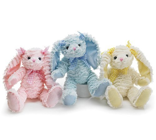 Floppy Swirl Easter Bunny Plush Set of 3 - Includes Pink, Blue and Yellow Rabbits (Blue Rabbit Bunny Plush)