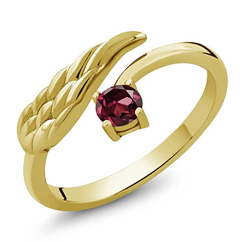 (Gem Stone King 0.37 Ct Round Red Rhodolite Garnet 18K Yellow Gold Plated Silver Wing Ring (Size 9))