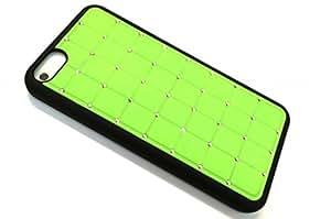 G4GADGET Súper Mejor iPhone 5c Lujo Cristal Cruz Caso Duro de la Cubierta del Diamante de Bling Verde con Marco Negro para Apple iPhone 5C