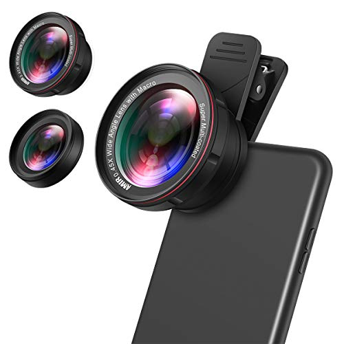 (Upgraded) for iPhone Lens Kit, 0.45X Wide Angle Lens, 15X Macro Lens for iPhone, 2 in 1 Clip on Cell Phone Camera Lens for iPhone 8 X 7 Plus 6 Lens Attachment for Samsung, Smartphones