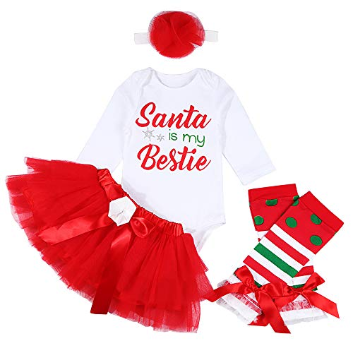 Christmas Outfit Newborn Baby Boy Girl Clothes Santa Romper Top with Leg Warmth 3Pcs Set (C-White, 9-12Months) (In Girls Santa Outfits)