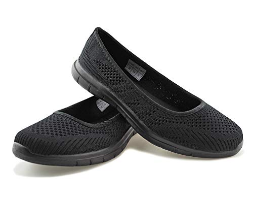 (Jabasic Women Slip On Loafers Breathable Knit Flat Walking Shoes (blk/blk,10))