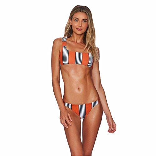 Mini Ruffled Bikini (OUBAO Women Push-up Padded Bra Striped Bikini Set Swimsuit Bathing Suit Bandage Swimwear Beachwear (Orange, S))