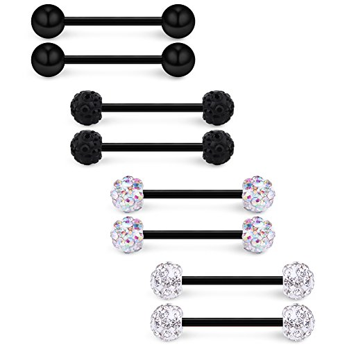 Ruifan 16G 9/16Inch Clear & AB Colorful $ & Black Crystal Ball with Black Bar Nipple Tongue Shield Ring & Black Stainless Steel Straight Barbell Body Piercing Jewelry Retainer 8PCS ()