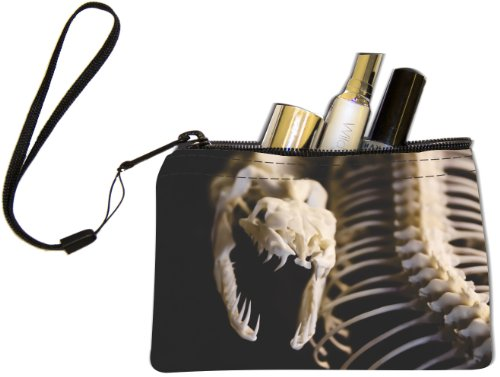 [Rikki Knight Snake Skeleton Design Keys Coins Cards Cosmetic Mini Clutch Wristlet] (Skeleton Makeup)