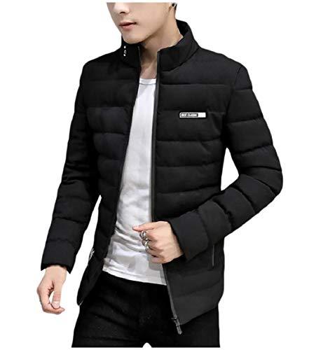 Full Collar Skinny Short Mogogo Mandarin Mens Black Jacket Quilted Casual Zip nX0nCtxS