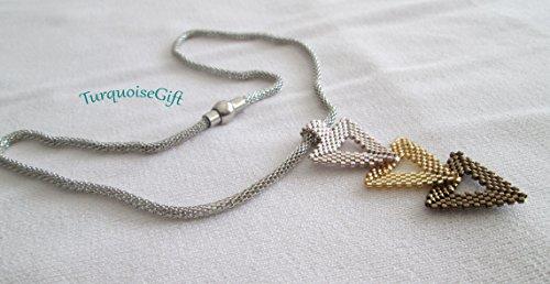 Delica Beaded Jewelry (Peyote Handmade Necklace,Triple Pendant,Handmade Jewelry,Gold-Silver delica beaded necklace,Peyote Pendant)