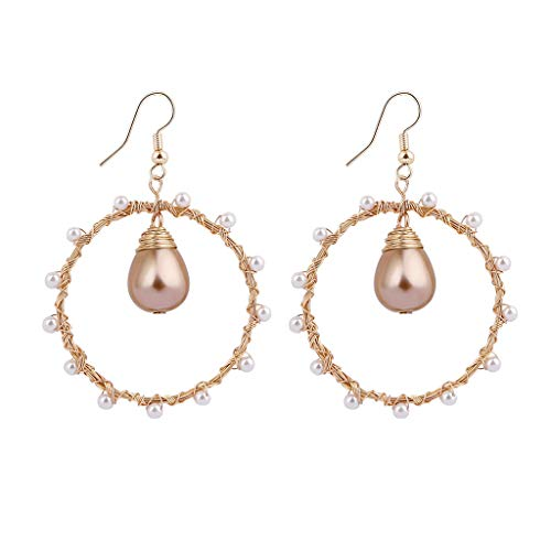 Hstore Fashion Circle Shape Earring Bohemian Creative Natural Freshwater Pearl Geometric Wire Wrapped Geometric Woven -