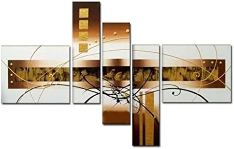 Wieco Art – Golden Clouds Modern Artwork 100 Hand Painted 5 Panels Abstract Oil Paintings on Canvas Wall Art D cor for Living Room Bedroom Home Decorations