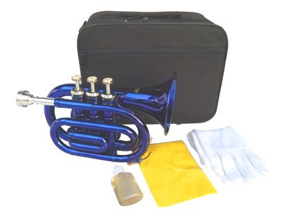 New BLUE Pocket Trumpet w/case-Approved+Warranty by other